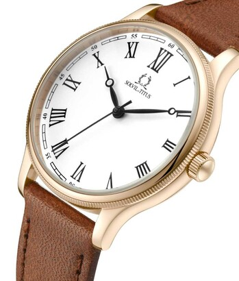 Vintage 3 Hands Quartz Leather Watch