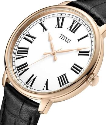 Zeitgeist三針石英皮革腕錶
