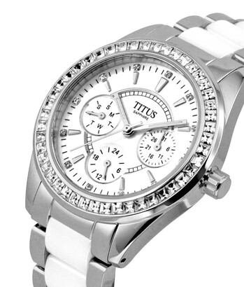 Fashionista Multi-Function Quartz Stainless Steel & Ceramic Watch