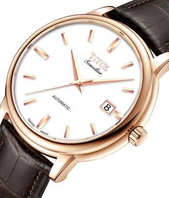 Sonvilier瑞士製三針日期顯示自動機械皮革腕錶