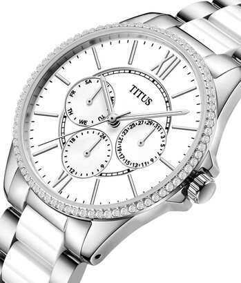 Fashionista Multi-Function Quar Stainless Steel with Ceramic Watch