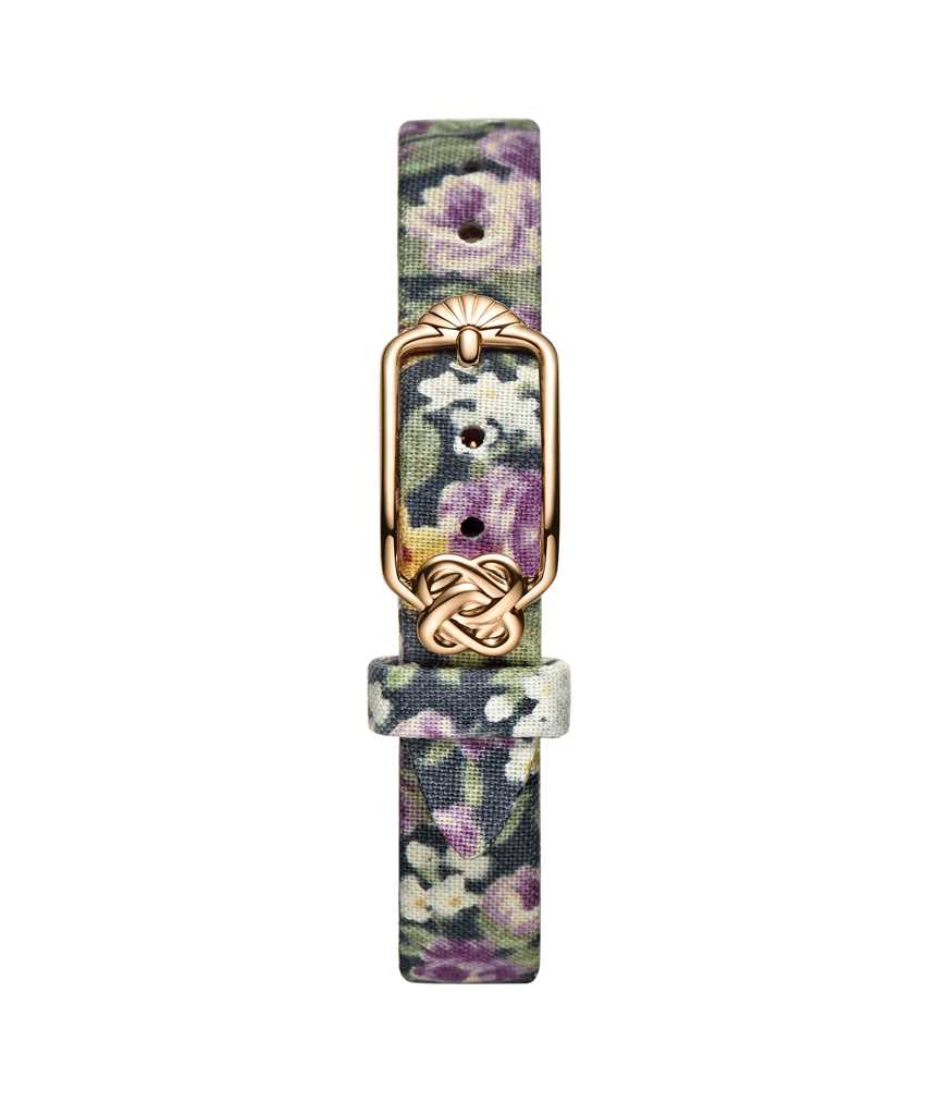 12 mm Purple Yellow Floral Japanese Fabric Watch Strap