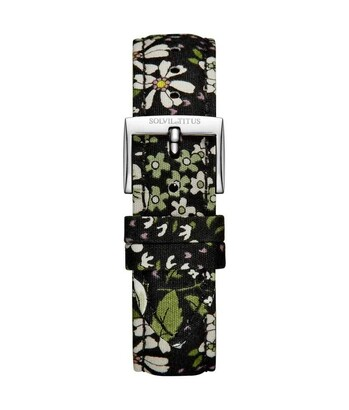 18 mm Black Floral Japanese Fabric Watch Strap