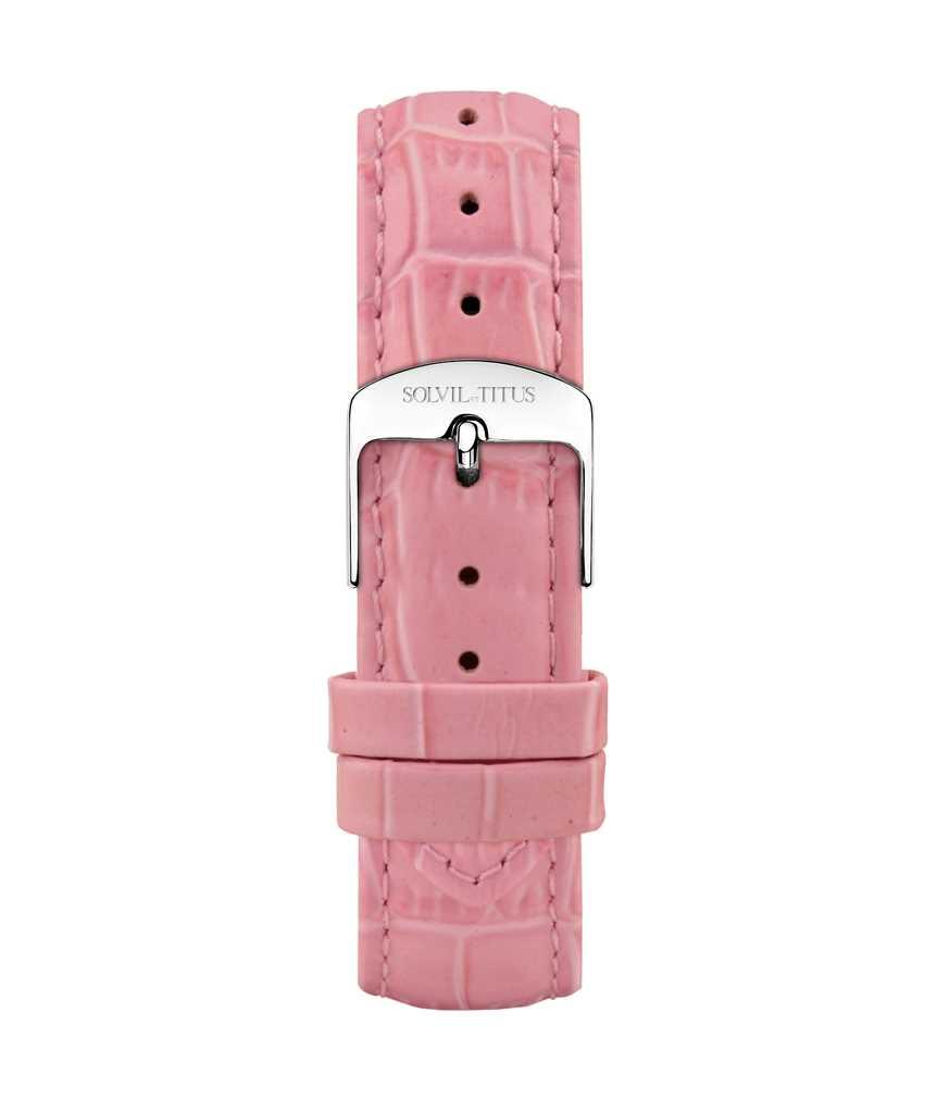 18 mm粉紅色鱷紋皮革錶帶