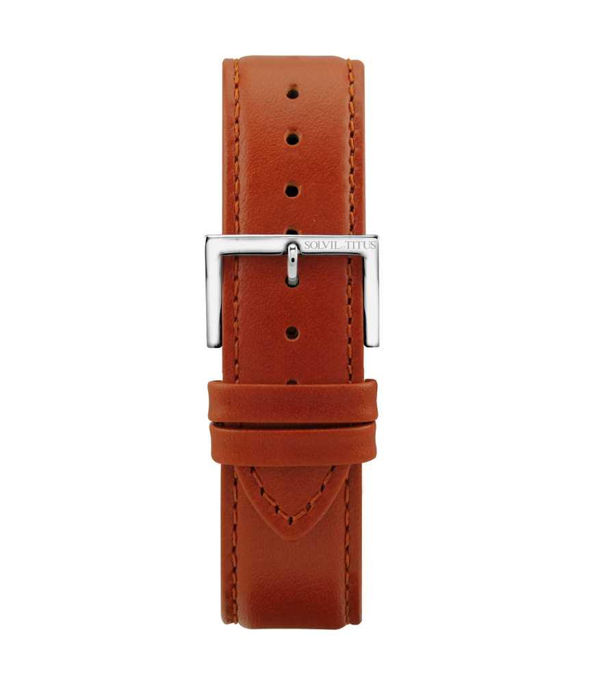 22 mm橙棕色無壓紋小牛皮皮革錶帶