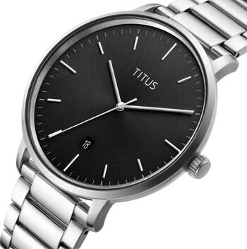 Nordic Tale三針日期顯示石英不鏽鋼腕錶