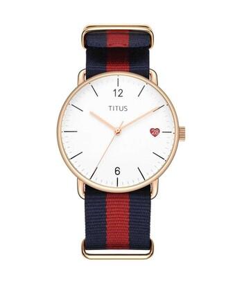 Nordic Tale三針日期顯示石英尼龍錶帶腕錶