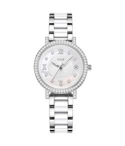 Fair Lady三針日期顯示石英不鏽鋼配陶瓷腕錶