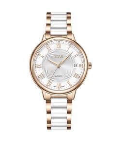 Exquisite三針日期顯示自動機械不鏽鋼配陶瓷腕錶