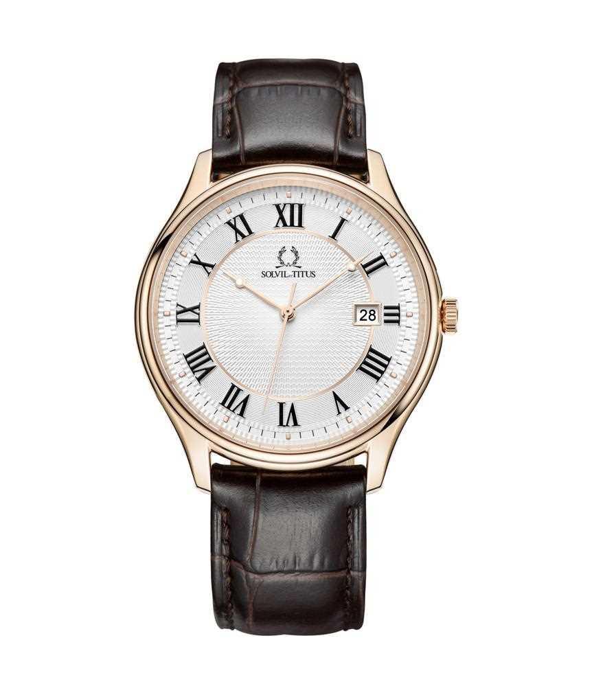Classicist三針日期顯示石英皮革腕錶