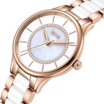 Fashionista 3 Hands Quartz Stainless Steel with Ceramic Watch