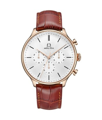 Vintage計時石英皮革腕錶