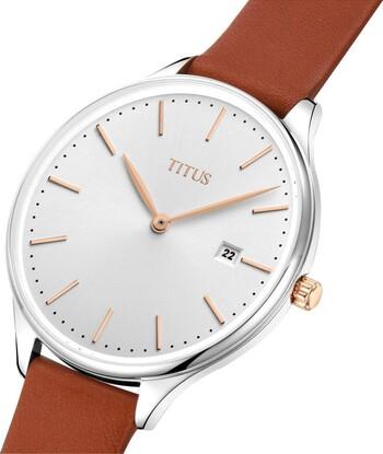 Interlude兩針日期顯示石英皮革腕錶