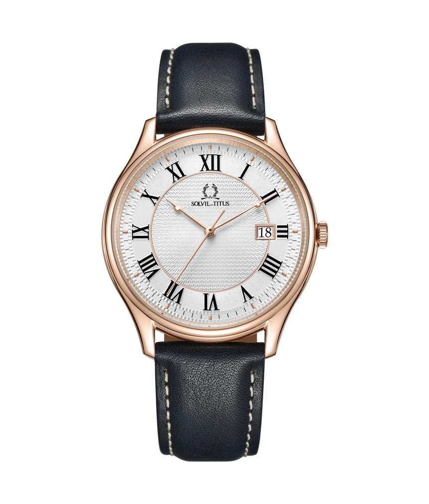 Classicist 3 Hands Date Quartz Leather Watch