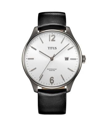 Interlude三針日期顯示石英皮革腕錶