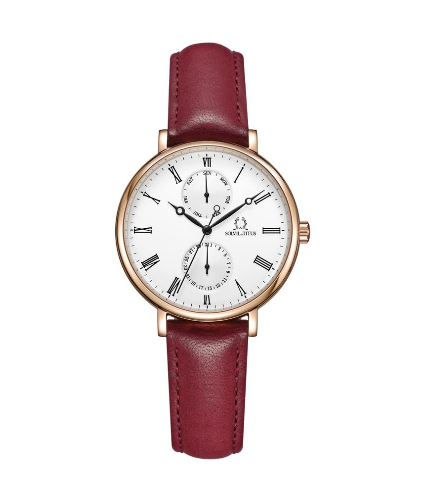 Forever Love Multi-Function Quartz Leather Watch