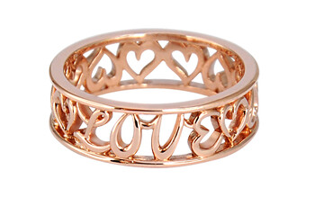 Solvil et Titus 16.2mm Love & Heart Ring, Sterling Silver, Rose-Gold Tone Plated