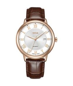 Classicist 3 Hands Date Mechanical Leather Watch