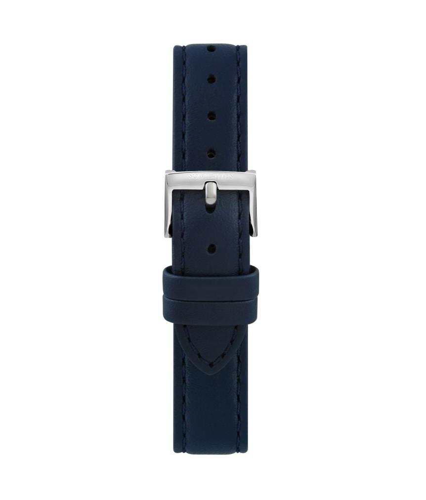 16 mm深藍色無壓紋皮革錶帶