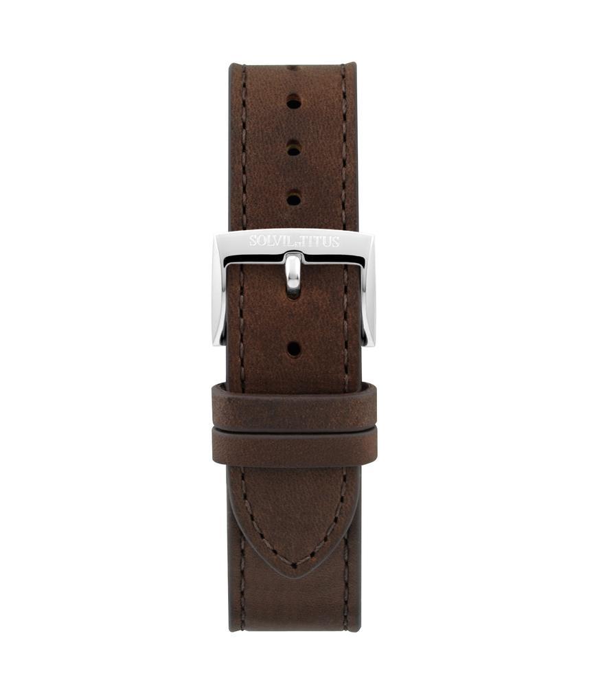 20 mm深啡色無壓紋皮革錶帶