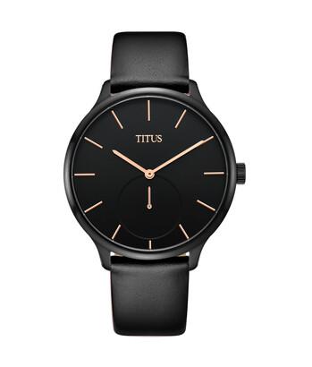 Interlude小秒針石英皮革腕錶