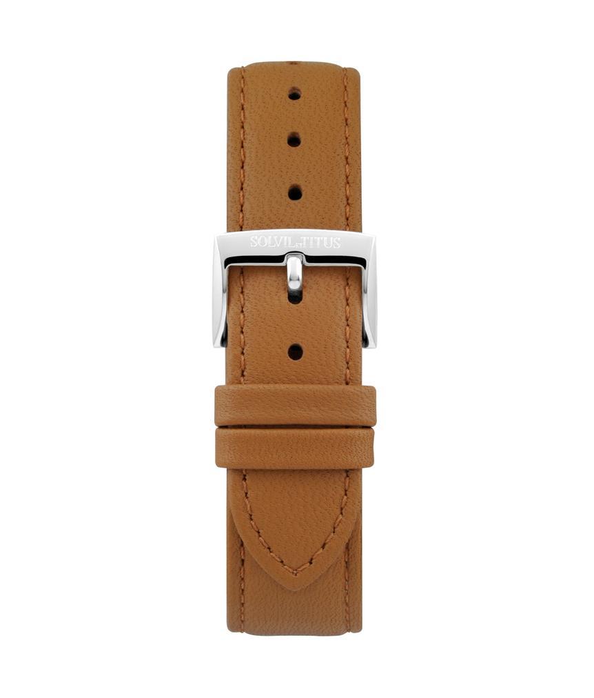 20 mm駝色無壓紋皮革錶帶