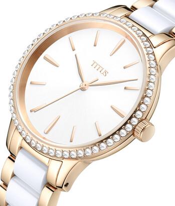 Fashionista三針石英不鏽鋼配陶瓷腕錶
