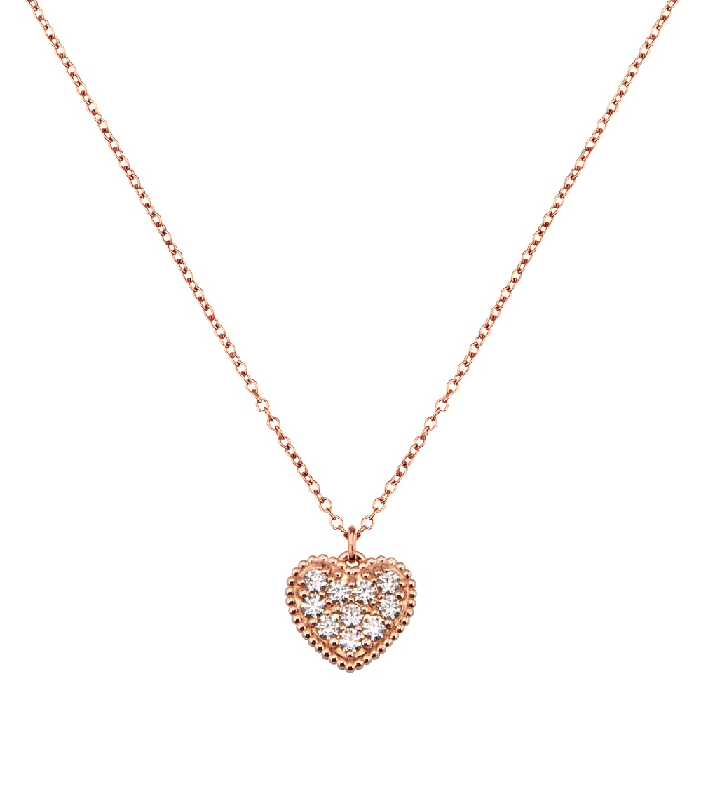 Solvil et Titus Sparkling Heart Necklace, Sterling Silver, Rose-Gold Tone Plated