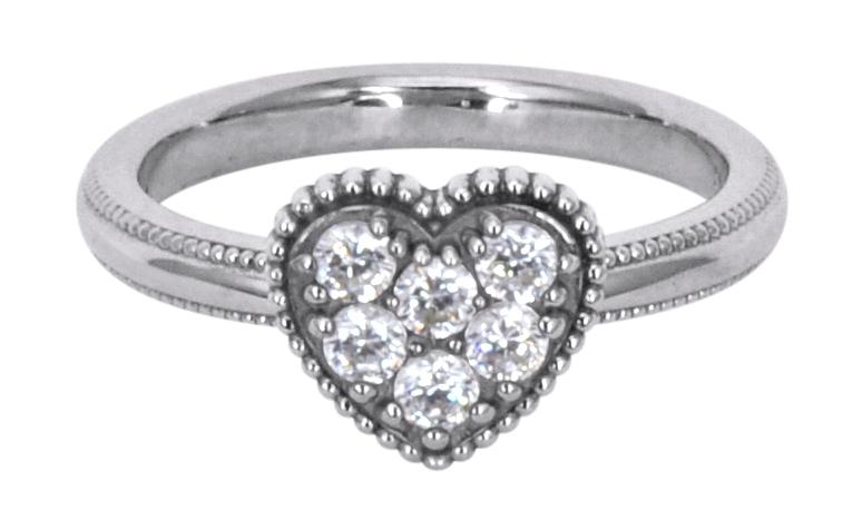 Solvil et Titus 17mm Sparkling Heart Ring, Sterling Silver