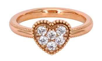 Solvil et Titus 15.6mm Sparkling Heart Ring, Sterling Silver, Rose-Gold Tone Plated