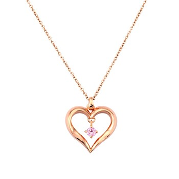 Solvil et Titus Open Heart Necklace, Sterling Silver, Rose-Gold Tone Plated