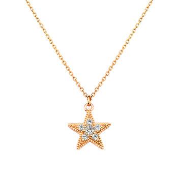 Solvil et Titus Sparkling Star Necklace, Sterling Silver, Rose-Gold Tone Plated