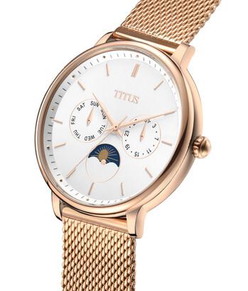 Fashionista多功能晝夜顯示石英不鏽鋼腕錶