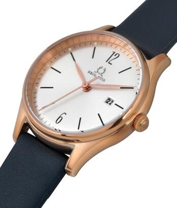 Muse三針日期顯示石英皮革腕錶