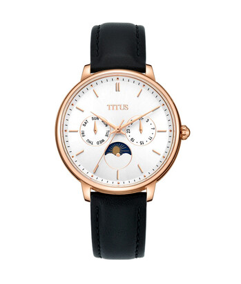 Fashionista Multi-Function with Day Night Indicator Quartz Leather Watch